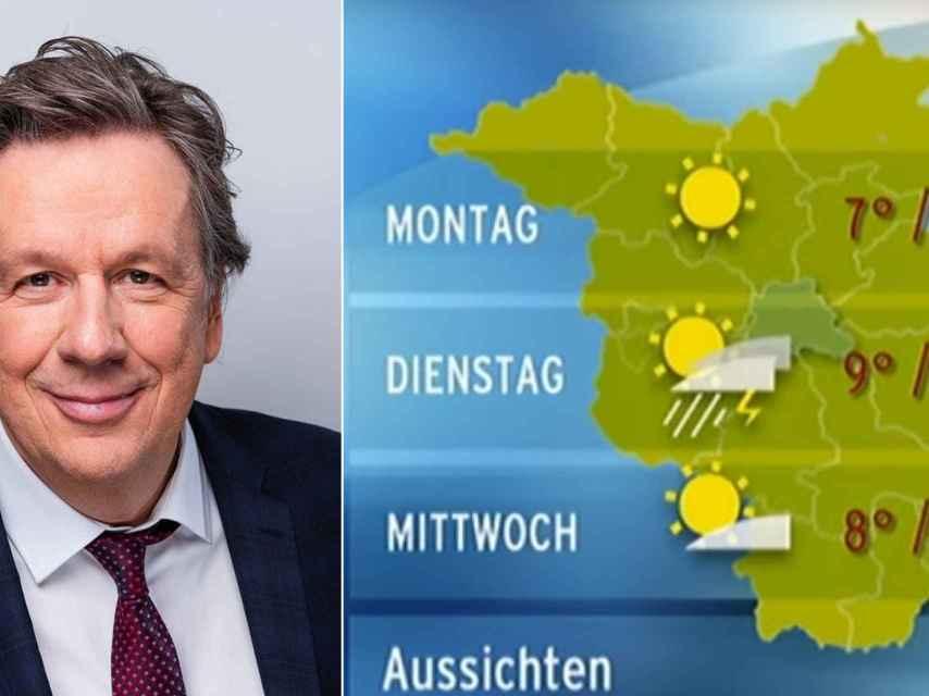 Jörg Kachelmann y un mapa de la RBB.