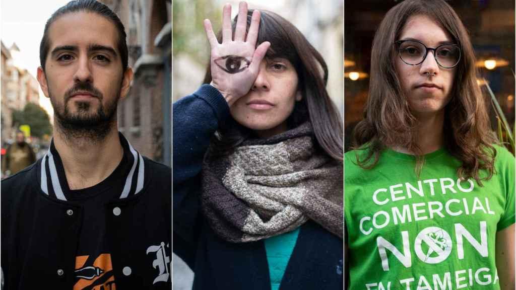 Desde la izquierda, Juan Aguilera, Angela Santiago y Aura Leirós este diciembre en Madrid.