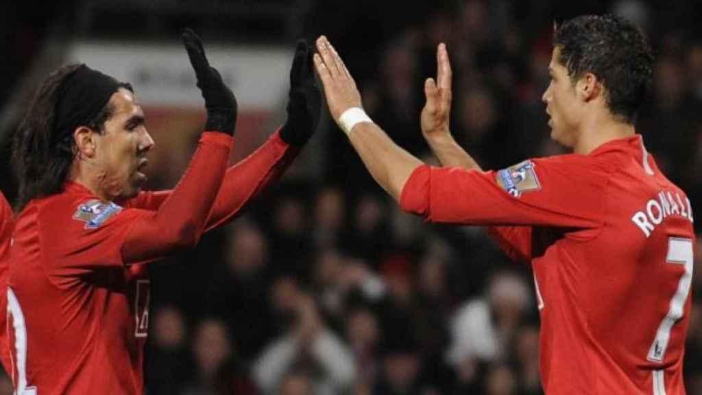 Cristiano Ronaldo y Tévez en el Mancheser United