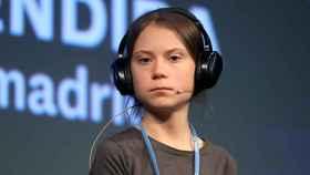 Greta Thunberg en el encuentro con los medios en La Casa Encendida.