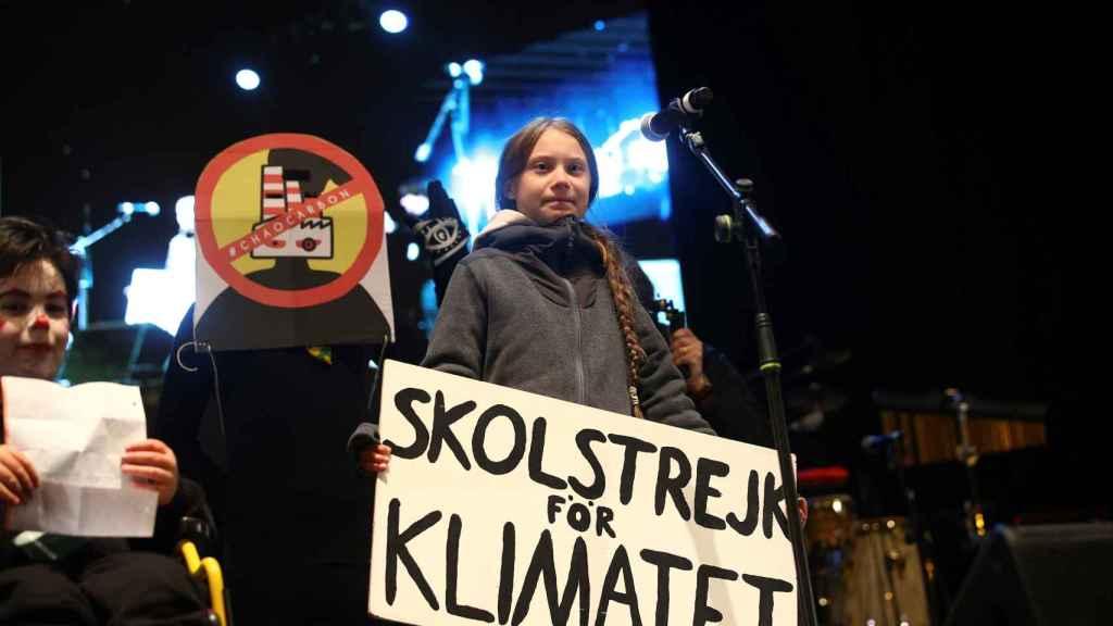 Greta Thunberg en su intervención en el cierre de la Marcha por el Clima de Madrid.