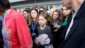La activista Greta Thunberg a su llegada a la Cumbre del clima.