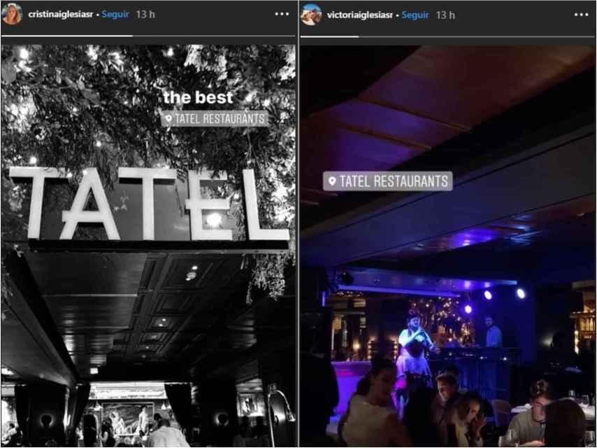 Instagram stories de Cristina y Victoria Iglesias en el restaurante Tatel de Madrid.