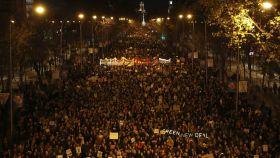 Miles de personas en la Marcha por el Clima en Madrid este viernes.