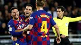 Messi celebra uno de sus goles ante el Mallorca