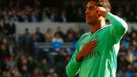 Varane celebra su gol al Espanyol