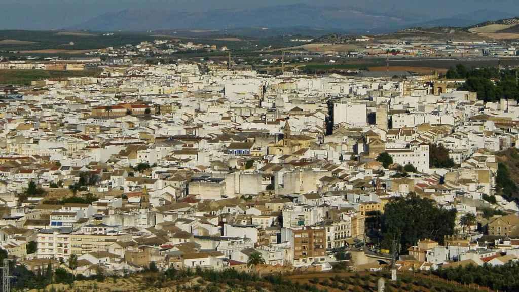 Vista aérea de Puente Genil, municipio al sur de la provincia de Córdoba.
