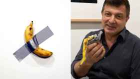 'Comedian', de Cattelan, primero expuesta y después en manos de Datuna tras comerse el plátano.