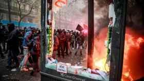 Los manifestantes en la jornada de huelga del jueves pasado.