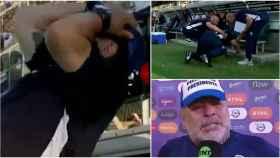 Maradona se cae al suelo de espaldas en el banquillo