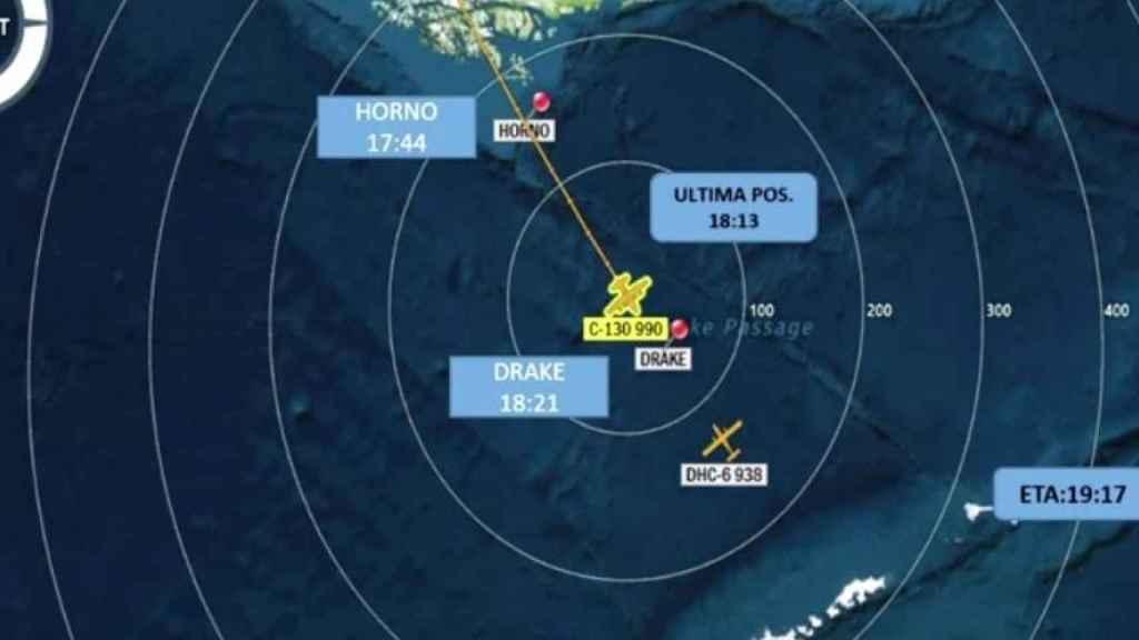 Lugar donde ha desaparecido el avión militar chileno.