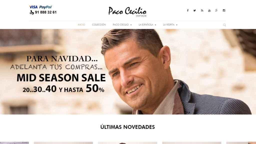 Captura de la web de Paco Cecilio con la imagen de Alfonso Merlos coronando la página.