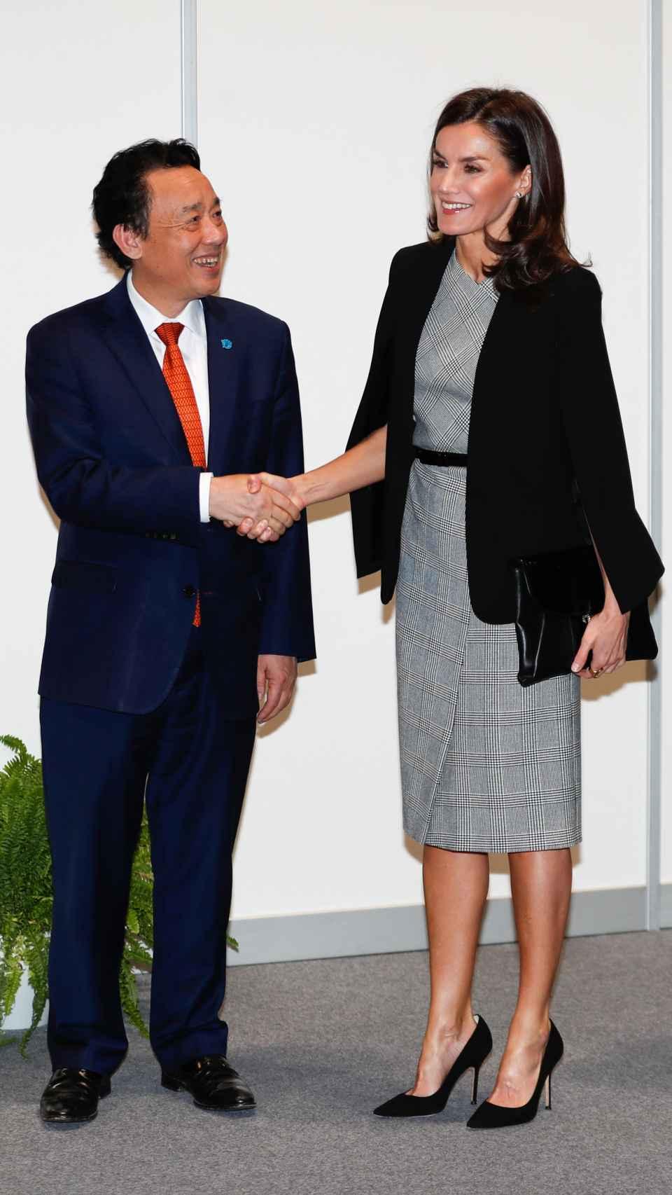 La reina Letizia con vestido de Hugo Boss.