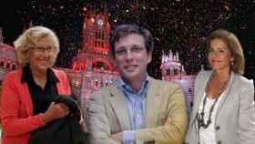 El alcalde Almeida junto a Manuela Carmena y Ana Botella en montaje JALEOS.