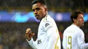 Rodrygo Goes celebra su gol al Brujas