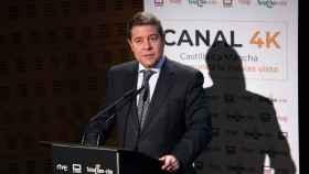 El presidente de Castilla-La Mancha, Emiliano García-Page, este miércoles en CMMedia. Foto: Óscar Huertas