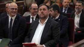 El exvicepresident de la Generalitat, Oriol Junqueras, junto al exconseller de Asuntos Exteriores, Raül Romeva, ante el Tribunal Supremo.
