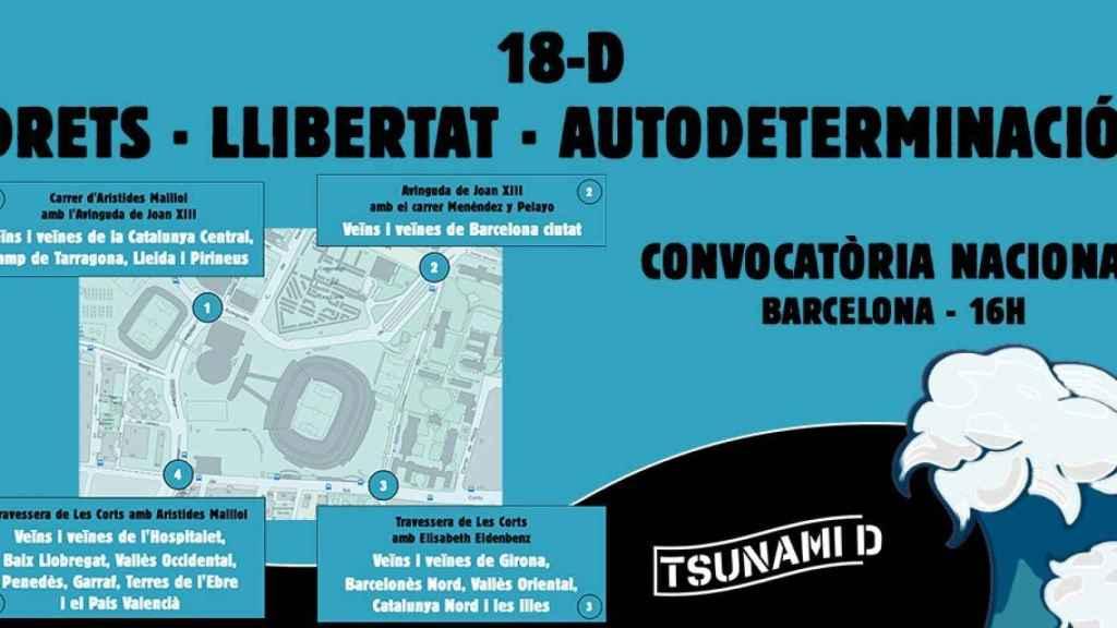 La organización de los puntos de la concentración de Tsunami Democràtic
