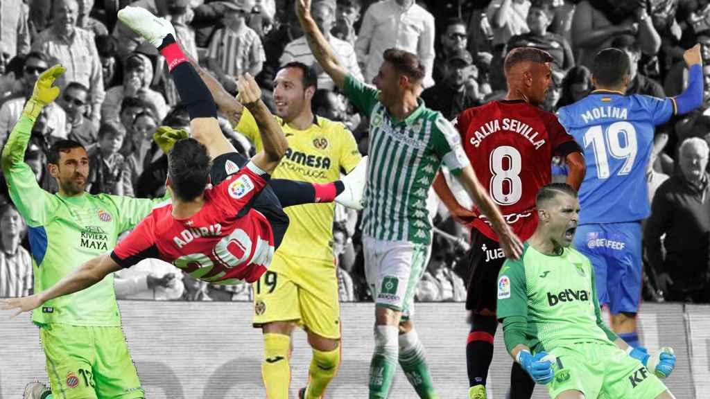 Diego López, Aritz Aduriz, Santi Cazorla, Joaquín Sánchez, Salva Sevilla, Iván Cuellar y Jorge Molina