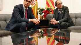 Pedro Sánchez y Quim Torra en diciembre de 2018 en Pedralbes.
