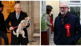 Johnson y Corbyn momentos antes de votar en las elecciones de Reino Unido.
