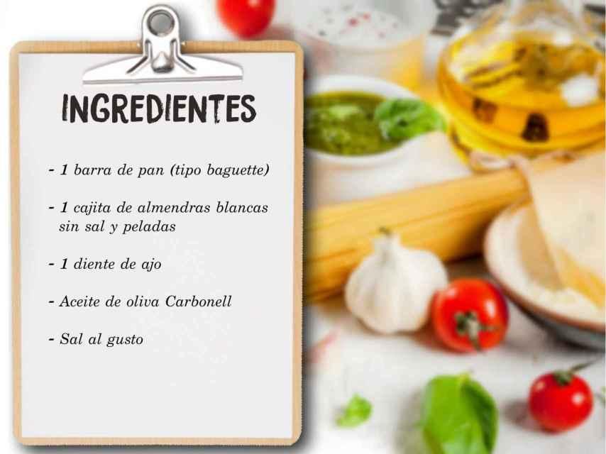 Los ingredientes para hacer el ajoblanco de Teresa.