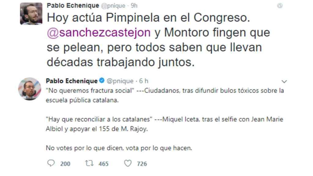 Dos de los 'tuits' eliminados por Pablo Echenique.