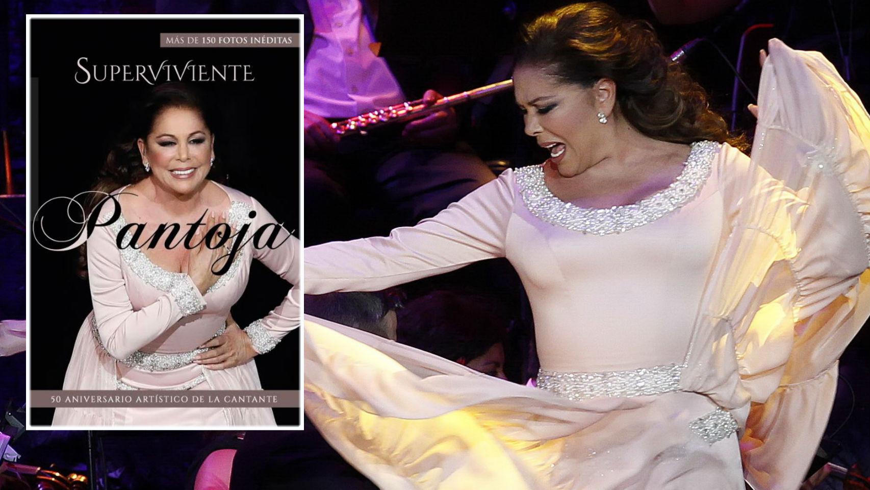 Isabel Pantoja sobre el escenario junto a la portada de la biografía 'Superviviente Pantoja'.