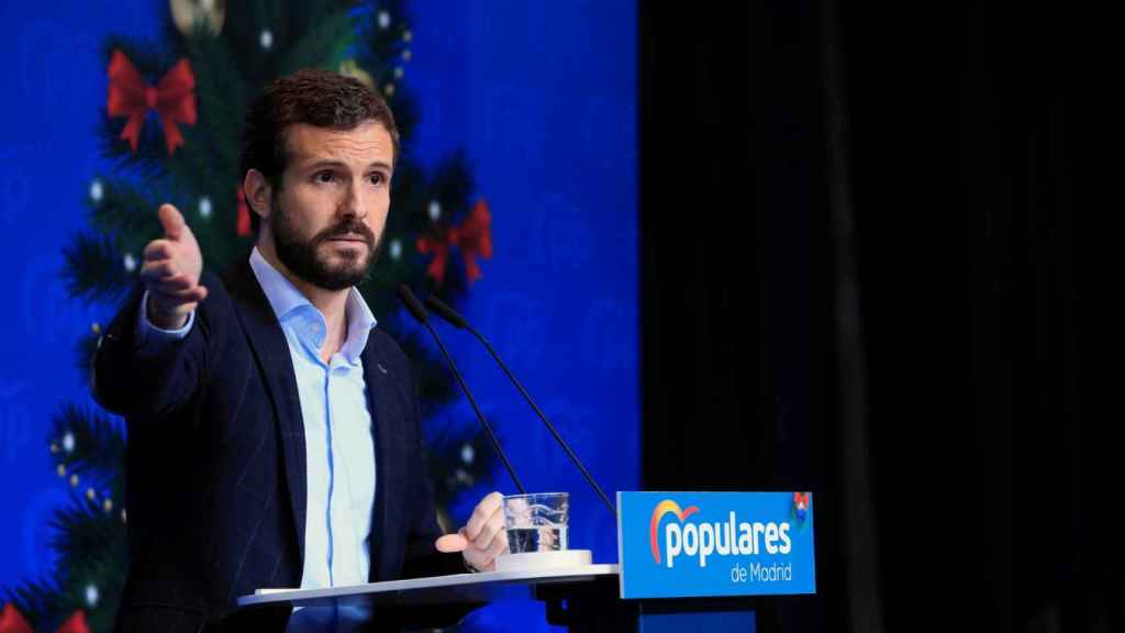 Pablo Casado en la comida de navidad del PP de Madrid.