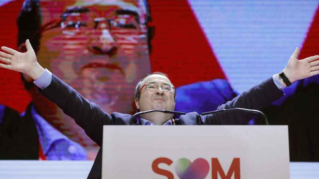 Miquel Iceta, triunfante tras su discurso final en el 14º Congreso del PSC.