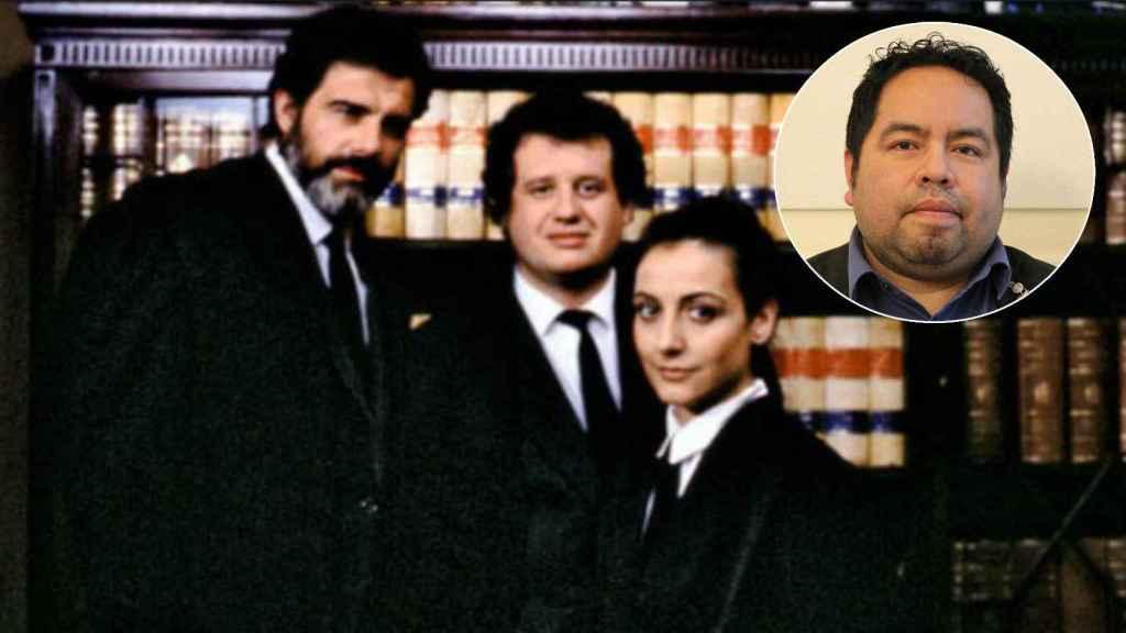 Imagen de los protagonistas de la serie televisiva 'Turno de Oficio'. Arriba, a la derecha, Víctor, el abogado de oficio agredido.