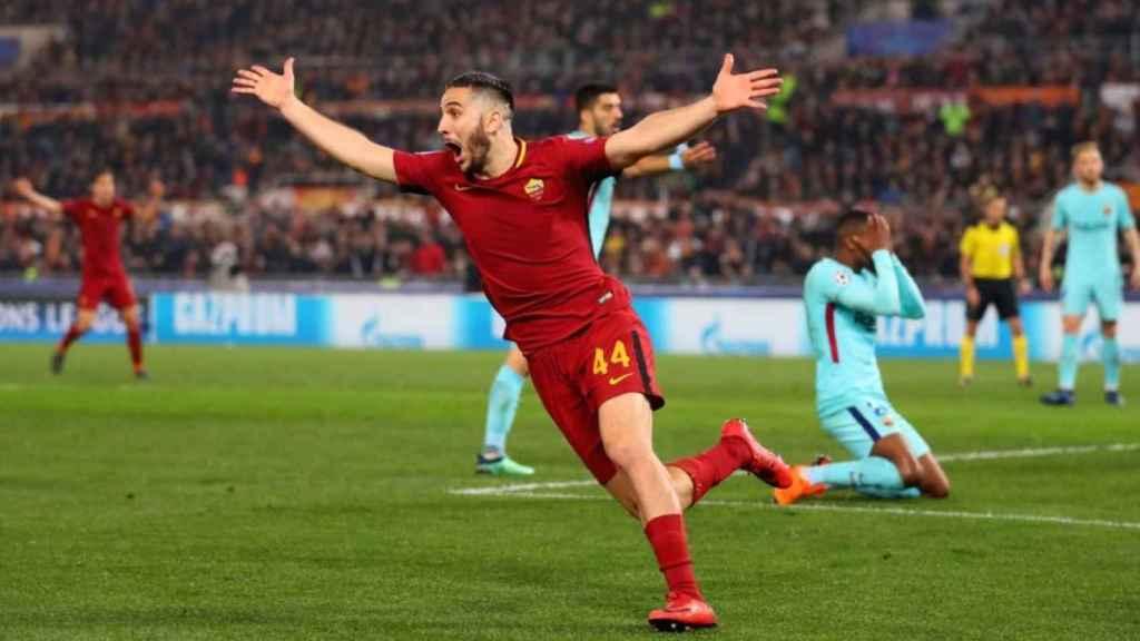 Kostas Manolas celebrando el gol que eliminaba al Barça