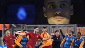 Guardiola en un partido frente al Madrid y Manolas celebrando el gol que eliminaba al Barça