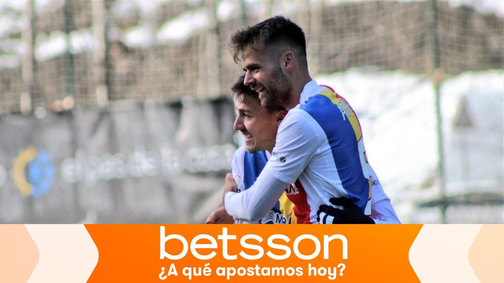 Jugadores del Andorra celebrando un gol
