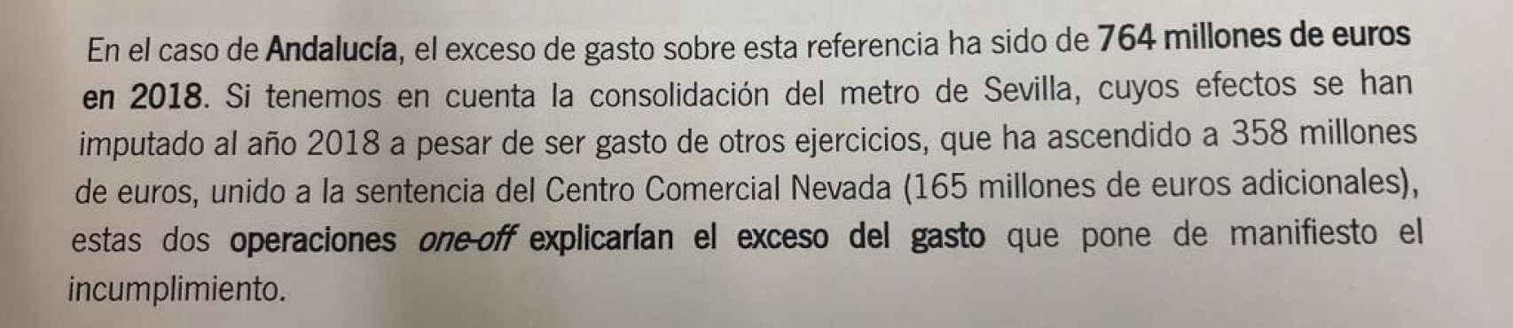 Informe interno de la Junta de Andalucía sobre gastos sobrevenidos al ejercicio 2018.