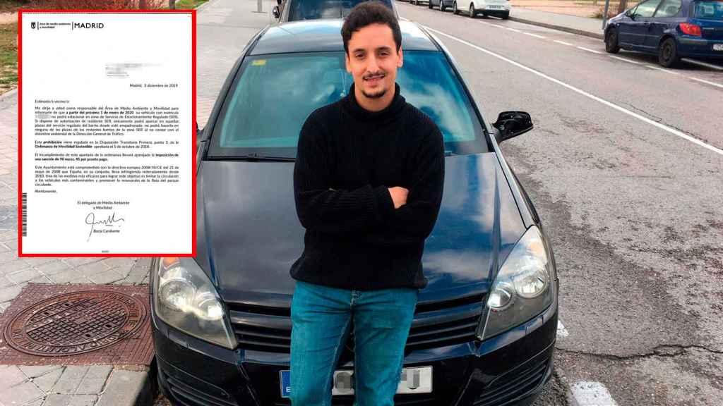 Miguel, uno de los conductores que ya no podrá aparcar en Madrid y la carta que le ha llegado.