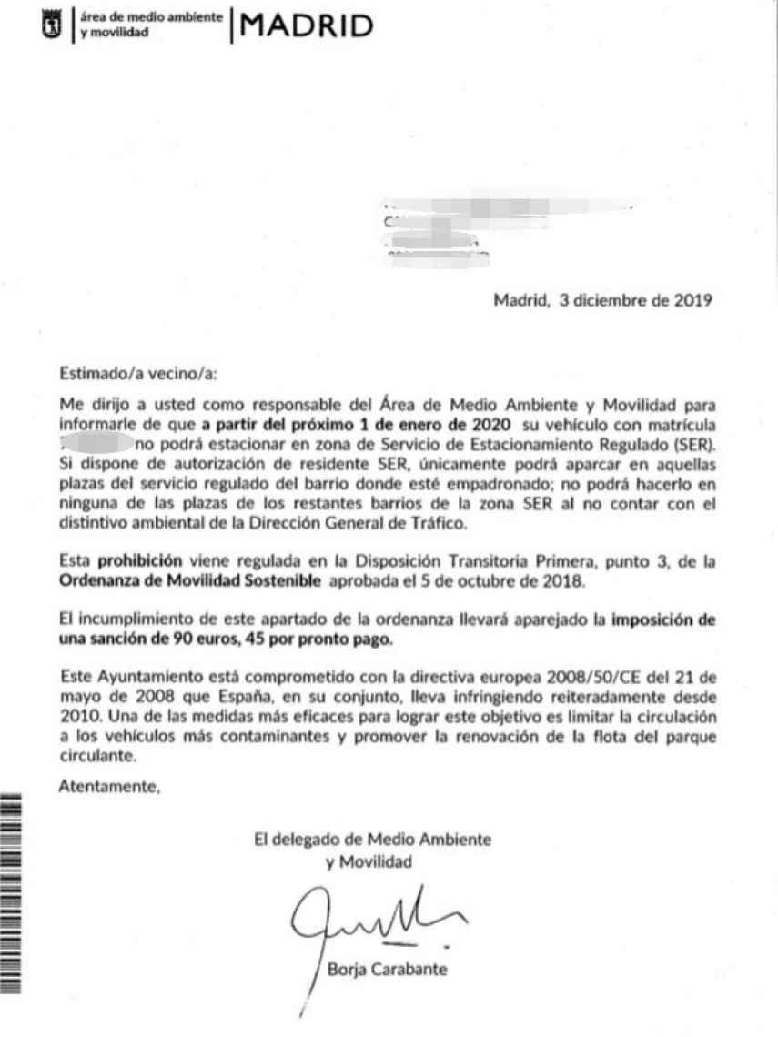 La carta de información enviada por el Ayuntamiento de Madrid.