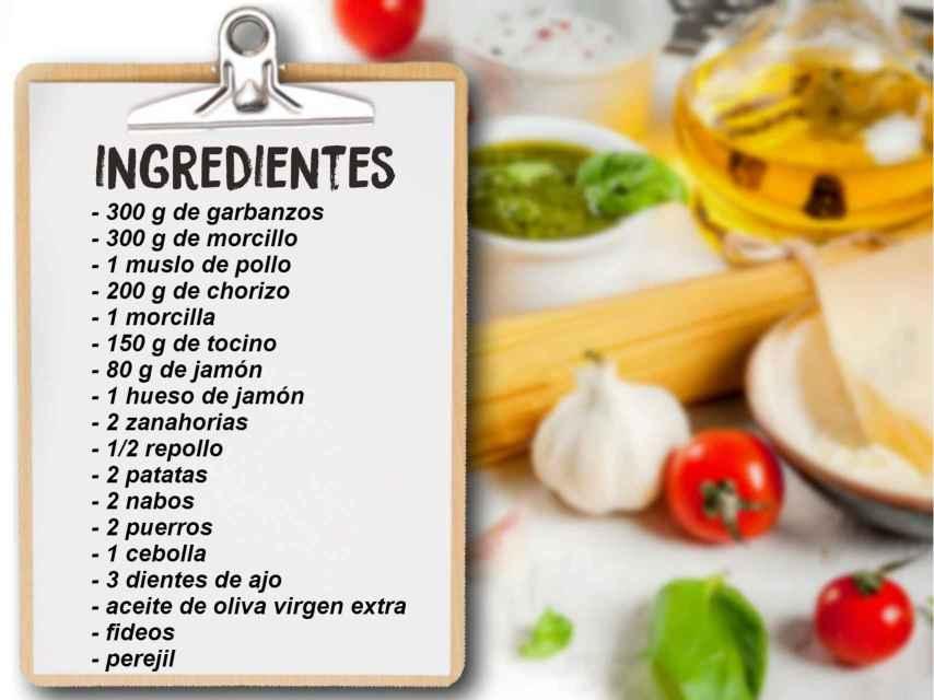 Los ingredientes necesarios para un cocido madrileño.