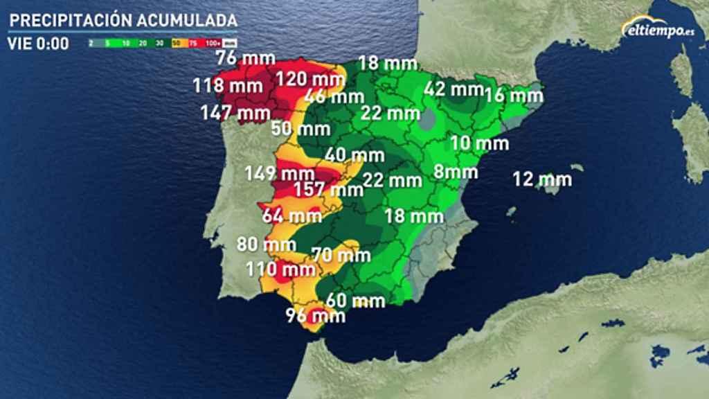 Previsión de precipitaciones acumuladas para el viernes según eltiempo.es.