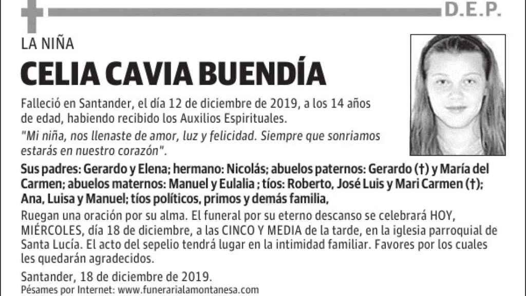 La esquela publicada por los padres de Celia en 'El Diario Montañés'.