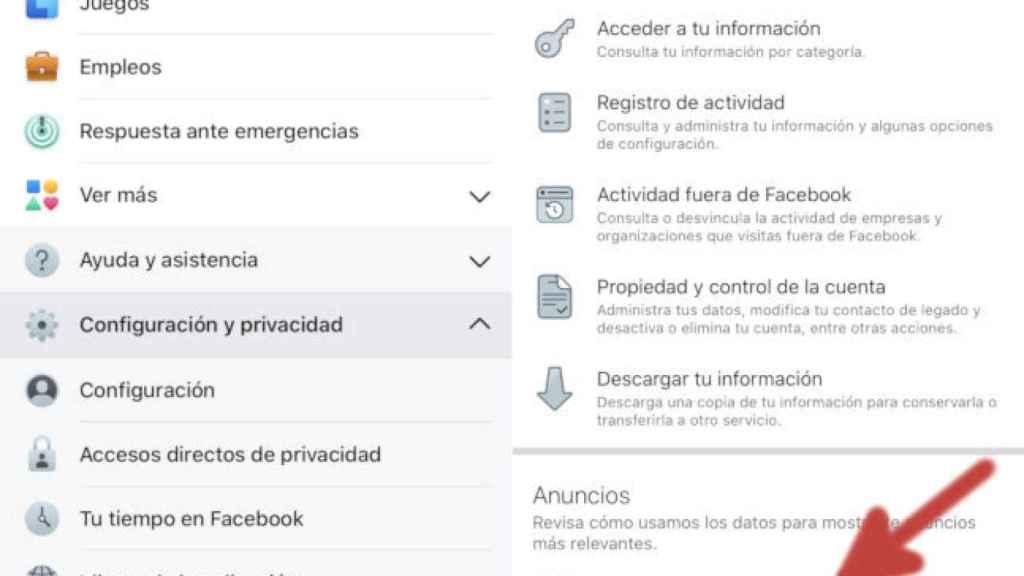 Configuración de anuncios en la app de Facebook