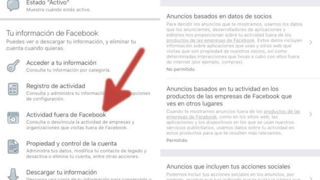 Configuración de actividad fuera de Facebook