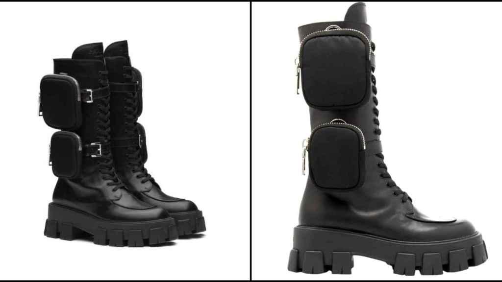 Las botas de Prada, a la izquierda; y la versión 'low cost', a la derecha.