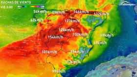 Previsión de las rachas de viento según eltiempo.es.