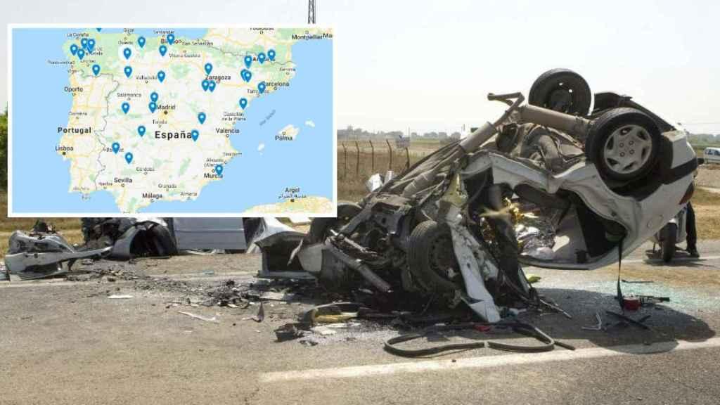 Los 61 puntos negros de las carreteras españolas.