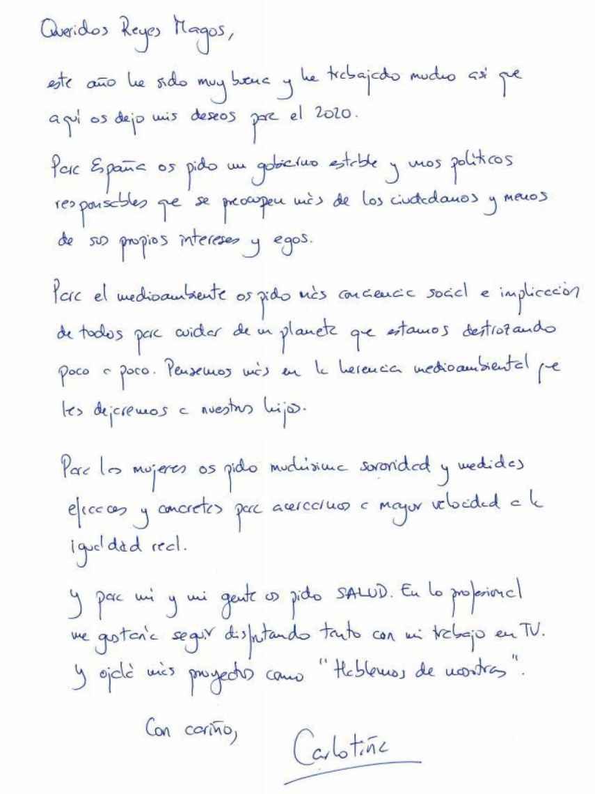 La carta a los Reyes Magos que ha escrito Carlota Corredera.