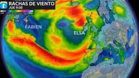 Rachas de viento de las borrascas Fabien y Elsa según eltiempo.es.