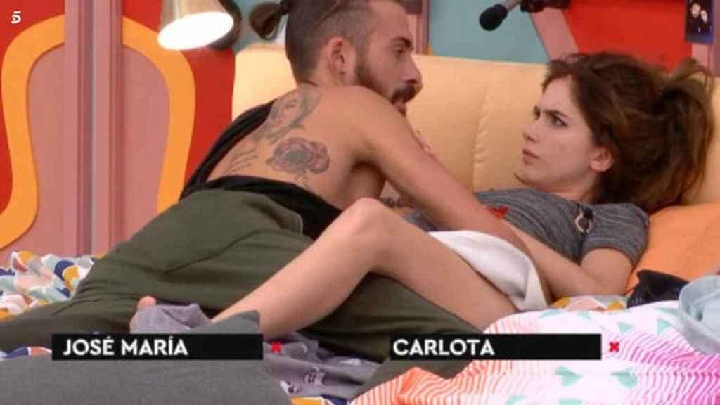 Carlota Prado y José María López en la casa de 'GH'.