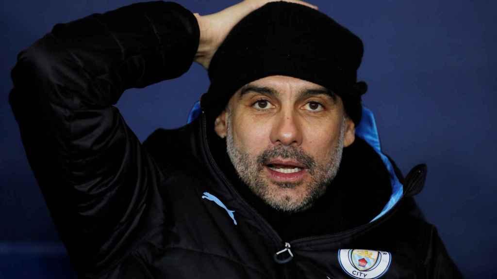 Pep Guardiola, en el banquillo del Manchester City