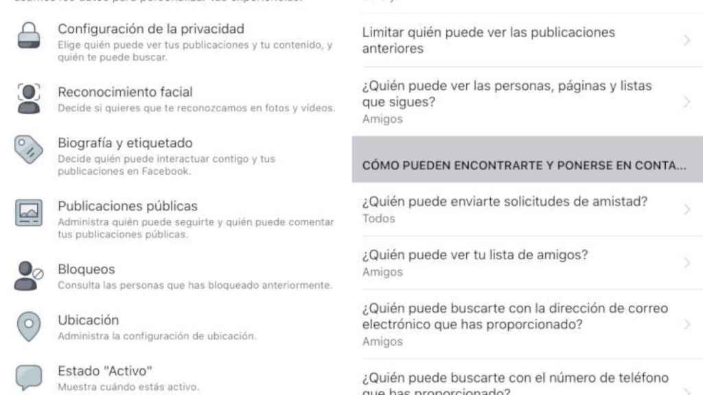Configuración de privacidad de Facebook